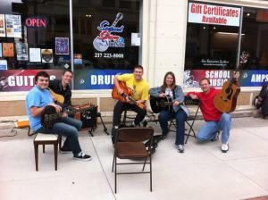 One of our Second String jam sessions. L-R is Ivan, Justin Sievert, Tim Smith, me and Rodney Hart.