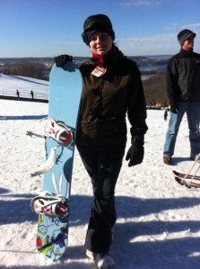 Sara and her awesome snowboard!