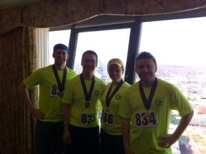 Top of the Hilton with our medals!