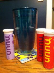 Nuun Hydration before my long run! These flavors are grape, fruit punch and tropical!