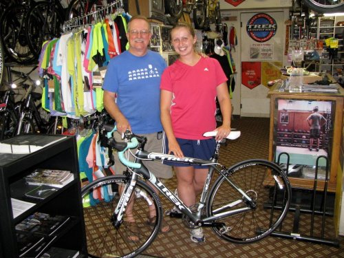Best day ever?!! Greg Davis and I pose by my brand new Trek Madone!