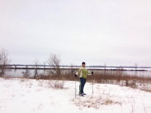 Cross country skiing at Wakonda State Park