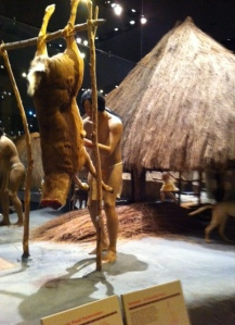 Recreated village scene at the visitor's center museum