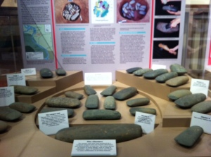 Stone artifacts/axe heads found in various burial pits near Cahokia.