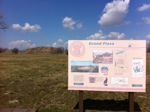 Infographic at the main plaza at Cahokia. Monk's Mound can be seen to the left in the distance.