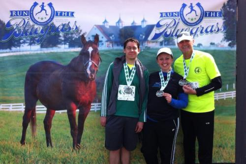 Doug, Glenn and I show off our medals after Run the Bluegrass