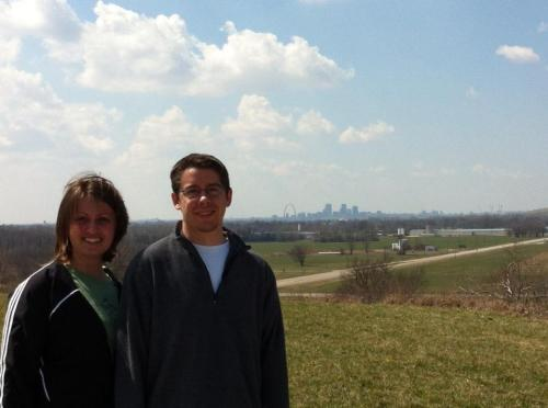 Doug and I take in the view from the top of Monk's Mound at Cahokia Mounds World Heritage Site.