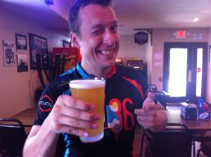 "Justin ""hydrates"" with some Fat Tire by New Belgium"