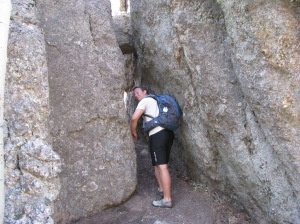 Justin in one of the tight spots on the Little Devil's Tower Trail