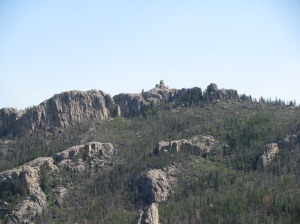This is Harney Peak Lookout as viewed from the top of Little Devil's Tower