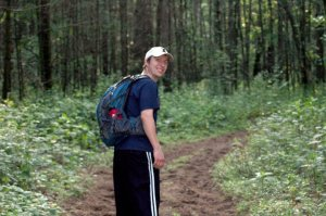 Justin out on a long hike!